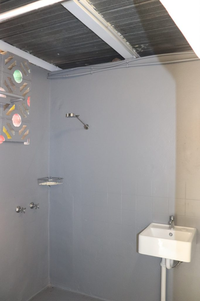 The newly refurbished shower block for the homeless